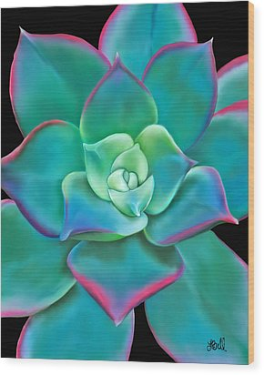 Wood Print featuring the painting Succulent Aeonium Kiwi by Laura Bell