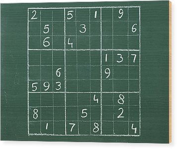 Sudoku On A Chalkboard Wood Print