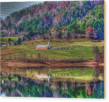 Sugar Grove Reflection Wood Print by Tom Culver
