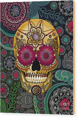 Sugar Skull Paisley Garden - Copyrighted Wood Print by Christopher Beikmann