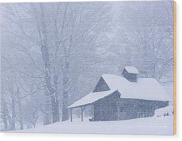 Sugarhouse Snowfall Wood Print by Alan L Graham