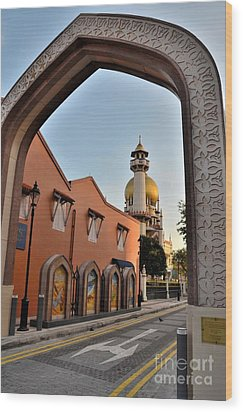 Sultan Mosque Arab Street Thru Arch Singapore Wood Print by Imran Ahmed