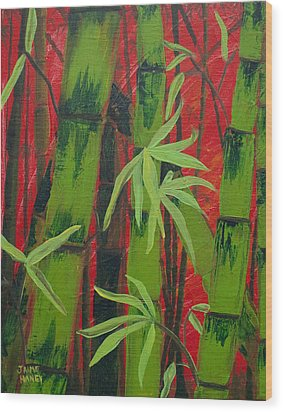 Sultry Bamboo Forest Acrylic Painting Wood Print