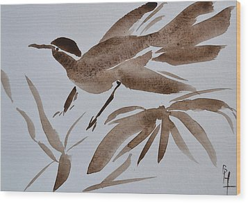 Sumi Bird Wood Print