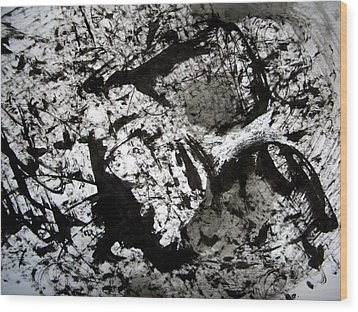 Sumi-e 130422-1 Wood Print by Aquira Kusume