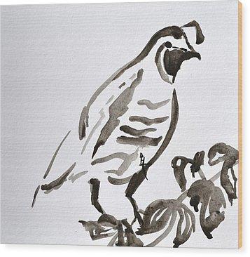 Sumi-e Quail Wood Print by Beverley Harper Tinsley