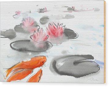Sumie No.11 Koi Fish And Lotus Flowers Wood Print by Sumiyo Toribe