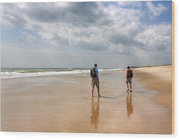 Summer A Beach In The Hamptons Wood Print by Mark E Tisdale