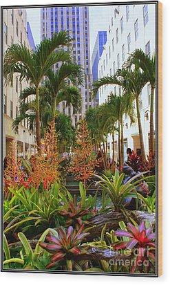 Summer At Rockefeller Center Wood Print by Dora Sofia Caputo Photographic Art and Design
