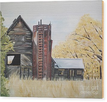 Wood Print featuring the painting Golden Aged Barn -washington - Red Silo  by Jan Dappen