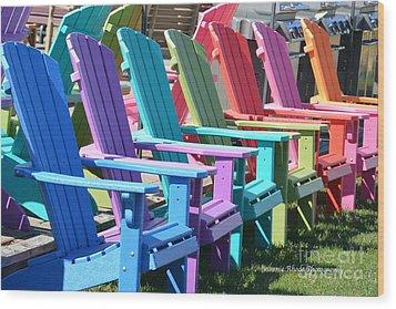 Summer Beach Chairs Wood Print