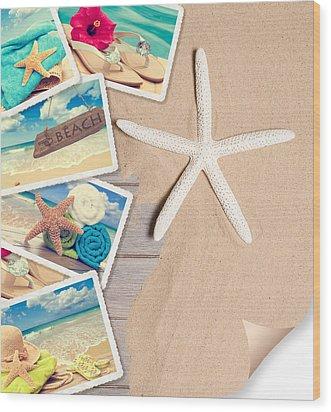 Summer Beach Postcards Wood Print by Amanda Elwell