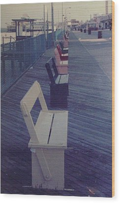 Summer Benches Seaside Heights Nj Wood Print by Joann Renner