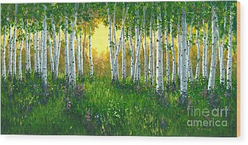 Summer Birch 24 X 48 Wood Print by Michael Swanson