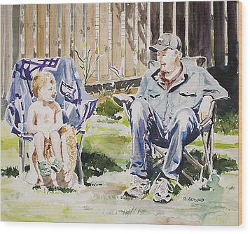 Grandfather  And Grandson Summer Bonding Wood Print