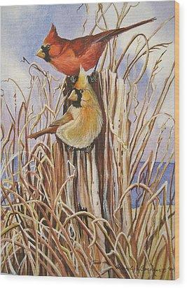 Summer Cardinals Wood Print by Cheryl Borchert