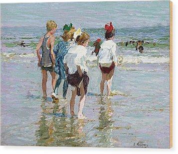 Summer Day At Brighton Beach Wood Print by Edward Potthast