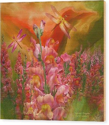 Summer Dragons - Square Wood Print by Carol Cavalaris