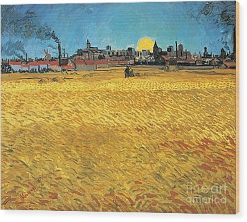 Summer Evening Wheat Field At Sunset Wood Print by Vincent van Gogh