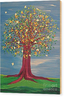 Summer Fantasy Tree Wood Print by First Star Art