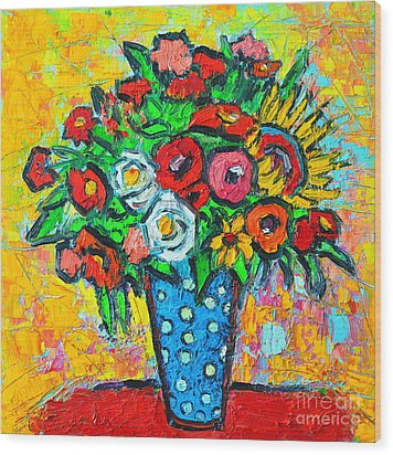 Summer Floral Bouquet - Sunflowers Poppies And Roses Wood Print by Ana Maria Edulescu