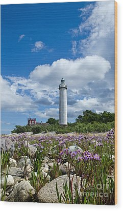 Wood Print featuring the photograph Summer Flowers At Lighthouse by Kennerth and Birgitta Kullman