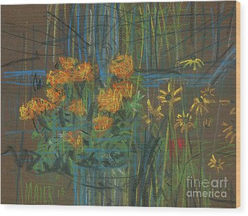 Wood Print featuring the painting Summer Flowers by Donald Maier