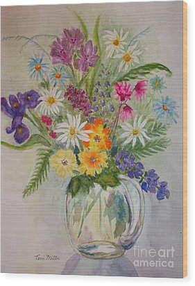 Summer Flowers In Vase Wood Print by Terri Maddin-Miller
