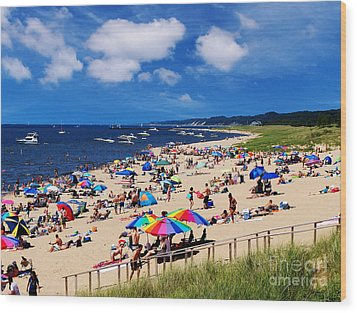 Summer Fun At Oval Beach Wood Print by Kathi Mirto