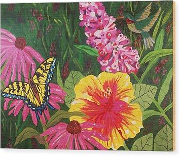 Summer Garden Wood Print by Ellen Levinson