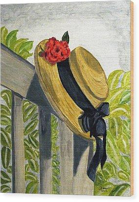 Summer Hat Wood Print by Angela Davies