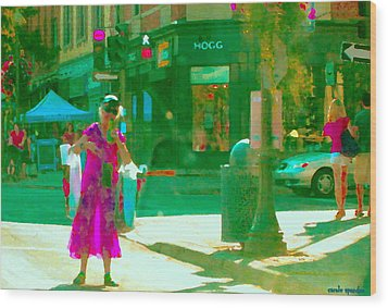 Summer Heatwave Too Hot To Walk Lady Hailing Taxi Cab At Hogg Hardware Rue Sherbrooke Carole Spandau Wood Print by Carole Spandau