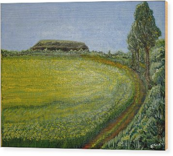 Summer In Canola Field Wood Print