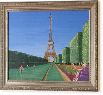 Wood Print featuring the painting Summer In Paris by Ron Davidson
