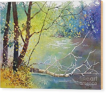 Summer Lakeside Wood Print