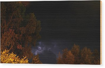 Wood Print featuring the photograph Summer Lightning Storm by Ramona Whiteaker