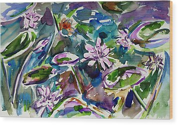 Summer Lily Pond Wood Print by Xueling Zou