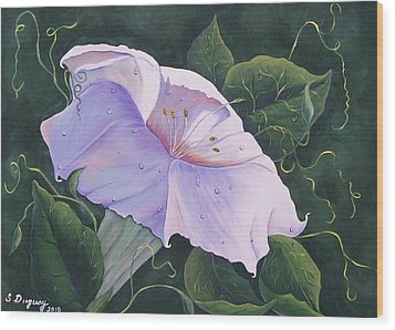 Wood Print featuring the painting Morning Glory  by Sharon Duguay