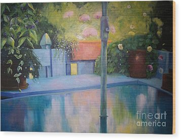 Summer On The Deck Wood Print by Marlene Book