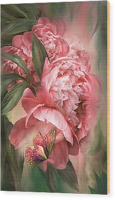 Summer Peony - Melon Wood Print by Carol Cavalaris