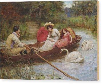Summer Pleasures On The River Wood Print by George Sheridan Knowles