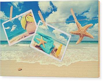 Summer Postcards Wood Print by Amanda Elwell