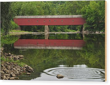 Summer Reflections At West Cornwall Covered Bridge Wood Print by Thomas Schoeller