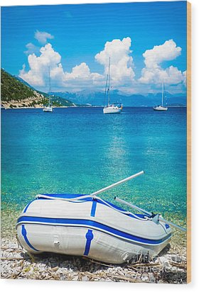 Summer Sailing In The Med Wood Print by Peta Thames