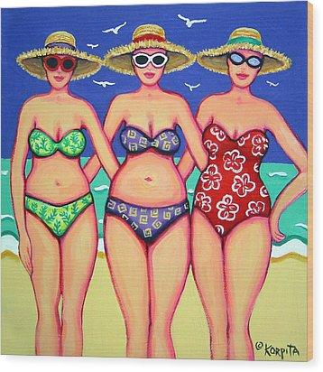 Summer Sisters - Beach Wood Print