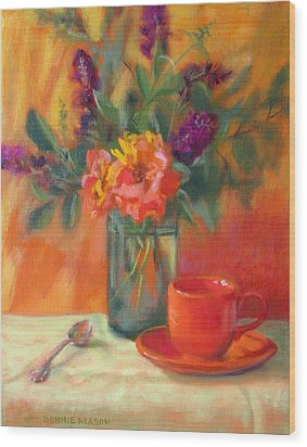 Summer Song- Orange Roses And Butterfly Bush Blooms Wood Print