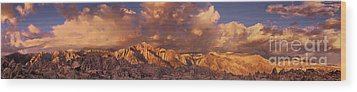 Wood Print featuring the photograph Summer Storm Clouds Over The Eastern Sierras California by Dave Welling