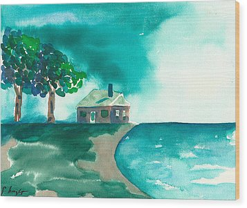 Wood Print featuring the painting Summer Storm by Frank Bright