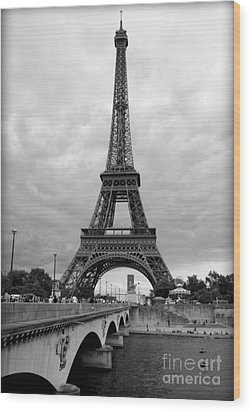 Summer Storm Over The Eiffel Tower Wood Print