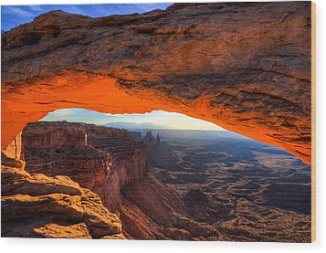 Summer Sunrise At Mesa Arch Wood Print